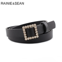 RAINIE SEAN Rhinestone Buckle Belt No Holes Women Fashion Solid Trousers Black Pink Red Purple Ladies Thin 107cm