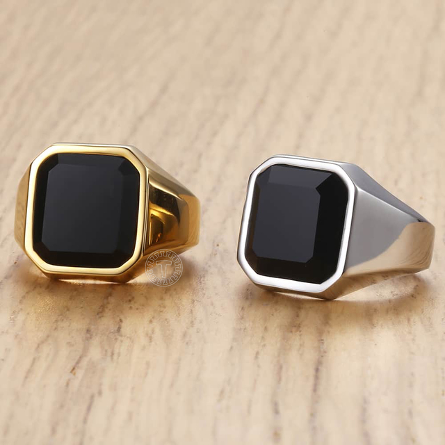 Men's Ring Rock Punk Smooth 316L Stainless Steel Black CZ Gold Silver Color Hip Hop Rings For Men Party Jewelry Wholesale KHRM63 3