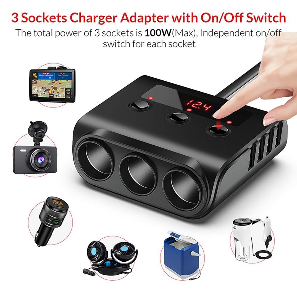 cheapest 3 Way Car Cigarette Lighter Adapter 12V-24V Socket Splitter Plug LED 4 USB Charger Adapter 2 4A 100W For Phone MP3 DVR