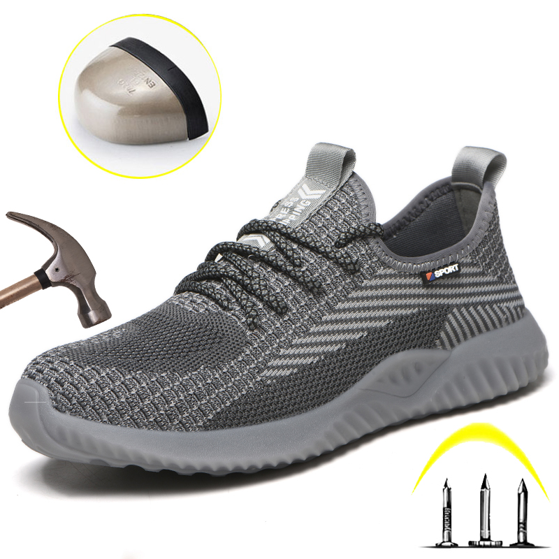 Steel Toe Mens Safety Work Shoes Summer Breathable Mesh Sneakers Men Anti-Slip Anti-Smashing Construction Industrial Shoes Women