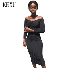 KEXU Bodycon Elegant Women Sexy Off Shoulder Long Sleeve Casual Female Dress Fashion Hollow Out Party Slim Dresses Robe Longue цена и фото