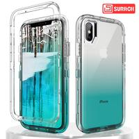 Luxury Gradient Color Clear Phone Case For iPhone 7 8 6 Plus X XR XS Max Case Transparent hard PC Soft TPU Colorful Case Coque|Fitted Cases| |  -