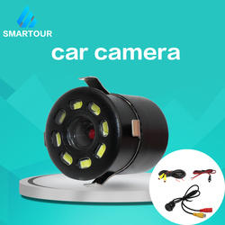 Smartour Waterproof Car Rear View Camera 8 Round Night Vision Reversing Auto Car Parking Monitor CCD Wide Angel Degree HD Video