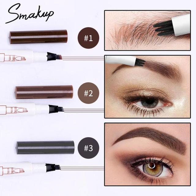 Microblading Tattoo Eyebrow Pencil Waterproof Fork Head Eyebrow Marker Pencil Multifunctional Waterproof Long Lasting Makeup