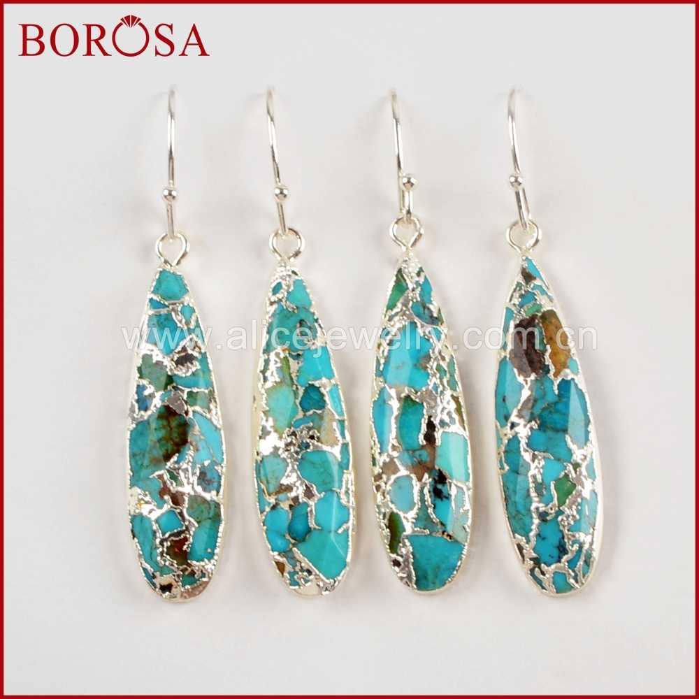 BOROSA 1 คู่คุณภาพสูงTeardrop Gold/SilverสีทองแดงTurquoises Dropต่างหูอัญมณีเครื่องประดับสำหรับผู้หญิงG1547-E