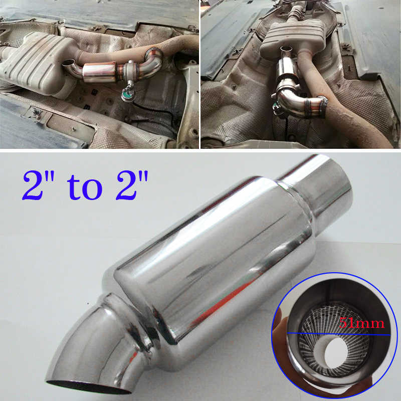 2 Inlet/Outlet Overall Performance Diesel Muffler Car Exhaust / Resonator 51mm