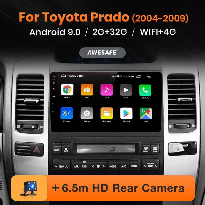 Reprodutor de vídeo multimídia de rádio do carro gps nenhum 2 ruído android 120 2 gb + 32 gb awesafe px9 para toyota land cruiser prado 2004 2009-9.0