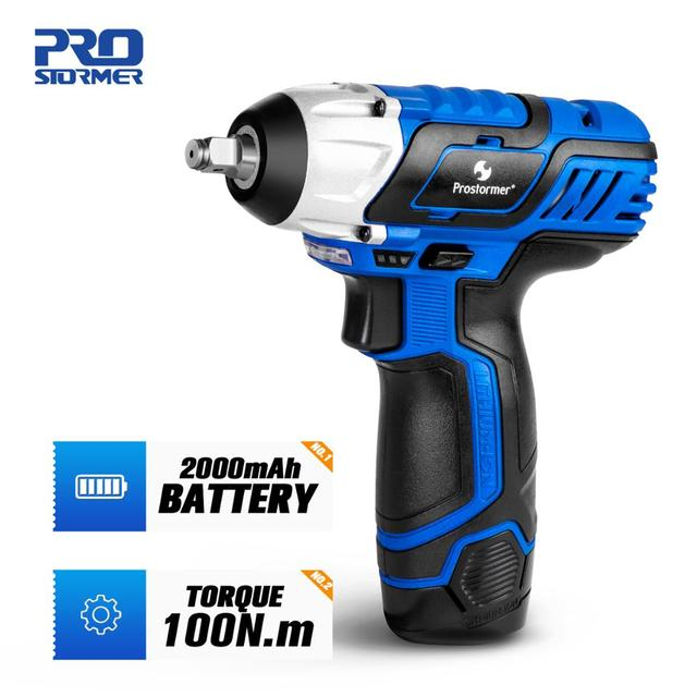 12V Electric Wrench 100NM Torque 3/8 inch Cordless Wrench 2000mAh Rechargeable Li Battery Car Repair Power Tool by PROSTORMER