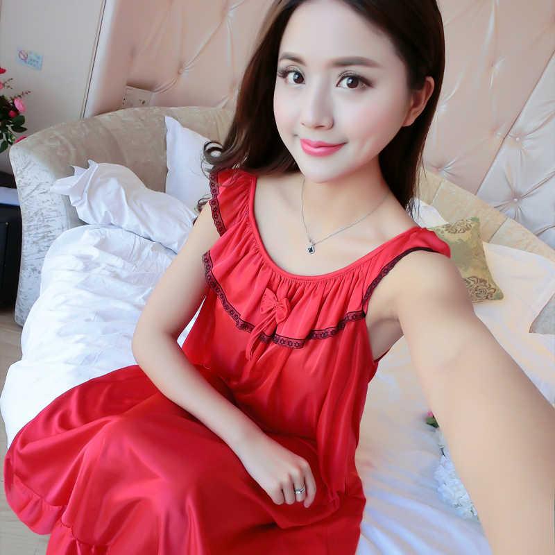 Oversize 4XL נשים משי סאטן לילה שמלת שרוולים כותנות לילה כתונת לילה בתוספת גודל גברת סקסי Nightwear רצועת הלבשת כותונת