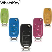 WhatsKey Colour Flip Folding Remote Car Key Shell For Volkswagen VW Golf Jetta Passat Beetle Polo Bora 3 Button Uncut HU66 Blade free shipping hu66 flip key blade for vw audi remote key 20pcs lot
