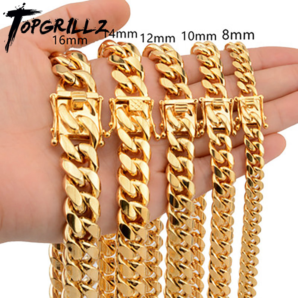 TOPGRILLZ Stainless Steel Gold Color Cuban Chain Faucet button Hip Hop Fashion Jewelry For Gift 6MM/10MM/12MM/14MM/16MM