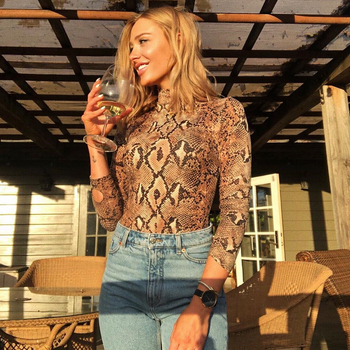 Snake Print Long Sleeve Sexy Women Bodysuit 2020 Autumn Winter Colthes Mock Turtleneck Thumbholes Snakeskin Body Suit цена 2017