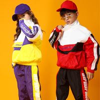 New Children Street Dance Set Boys And Girls Hip Hop Dance Long Sleeve Clothing Kids Jazz Dance Performance Costume Tide DQL2363