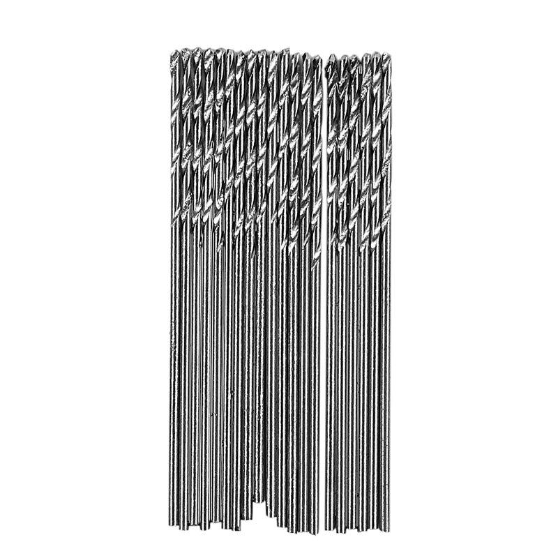 20 Pcs 0.5mm Diameter Straight Shank Metal Spiral Twist Drill Bit
