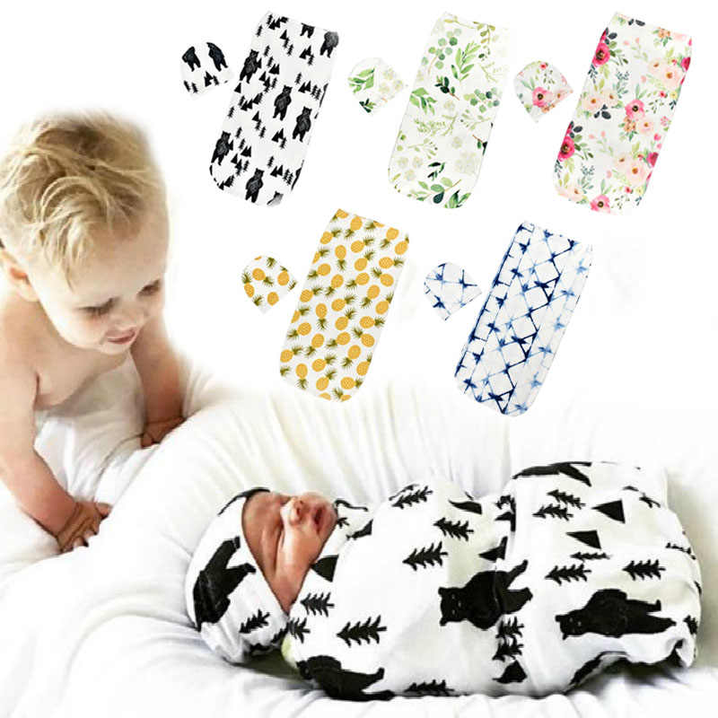 Muslin Cotton Baby Blankets Newborn  Swaddles Soft Swaddle Blanket Sleeping Anti-fright Wrap+Hat 2pcs Baby Newborn Products