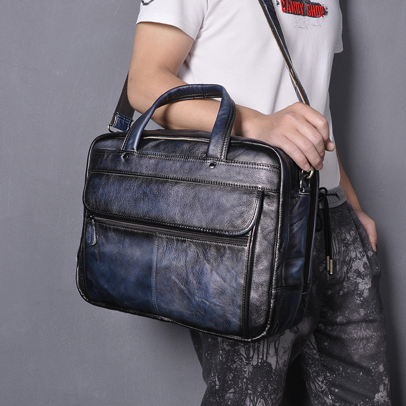 Men Quality Real Leather Fashion Blue Business Briefcase MessengerBag Male Design Travel Laptop Case Tote Portfolio Bag 7146