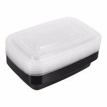 Boîte à Bento en plastique jetable sans BPA, 10 pièces/lot, boîte à déjeuner de cuisine, micro-ondable, stockage des aliments, boîte à déjeuner avec couvercle