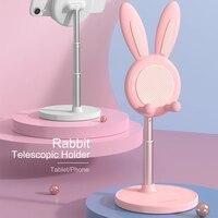 Soporte para teléfono de escritorio con diseño de conejo, ángulo de altura ajustable, para iPhone 11, 12, iPad, 2021