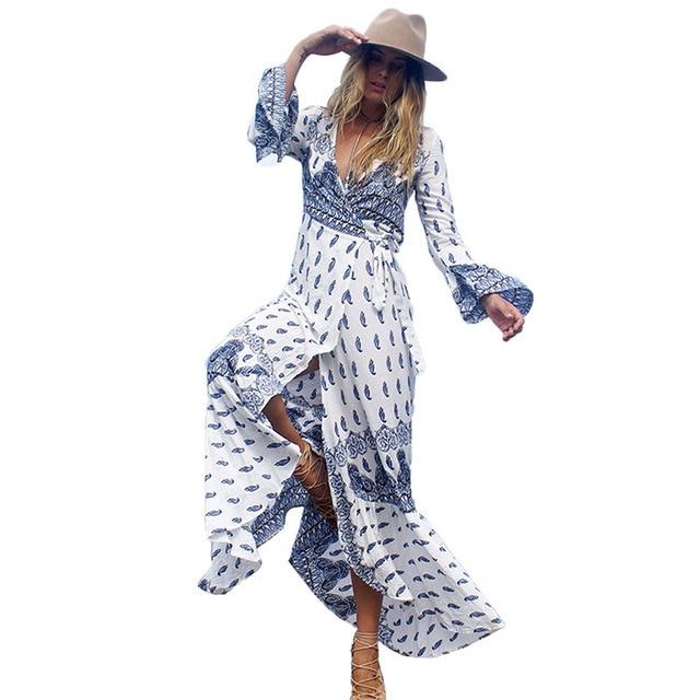 Kaftan Beach Cover Up Swimsuit Summer Beach Dress Long Dresses Women's Tunic Large Women Bohemia Skirt Print Acetate 4