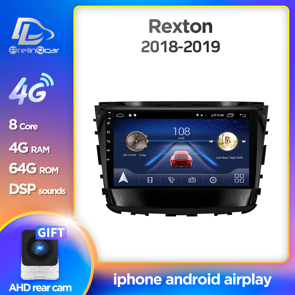 Prelingcar For Rexton 1 2 Doulbe Din 2018 2019 Car Monitor Radio Multimedia Video Player Navigation GPS Android 9.0 DSP Stereo