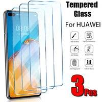 Protector de pantalla de cristal para teléfono móvil Huawei, Protector de pantalla de cristal para Huawei P20, P10, P9 Lite, P30, P40 Pro Lite, 3 uds.