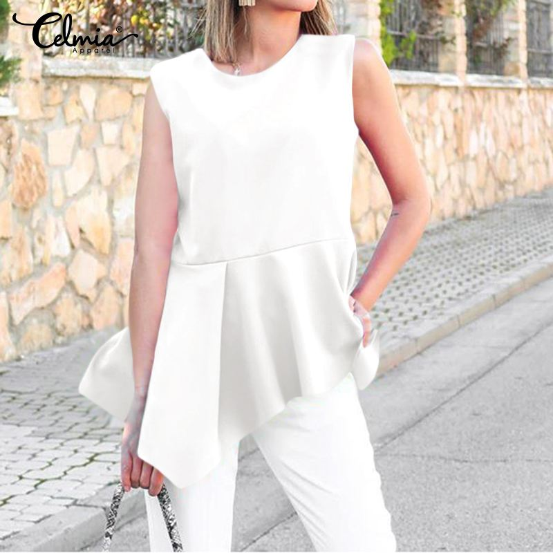 S-5XL Women Stylish Tops Celmia Summer Sleeveless Blouses Casual Loose Ruffles Asymmetrical Shirts Plus Size Work Blusas Mujer