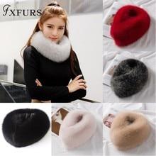 FXFURS, новинка, корейский стиль, женские зимние шарфы из лисьего меха, натуральный мех, с магнитом, легко носить,, воротник из лисьего меха, шарф, кольцо