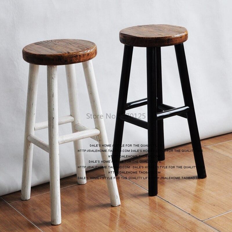 American Solid Wood High Stool Coffee Chair High Stool Retro Old Bar Chair