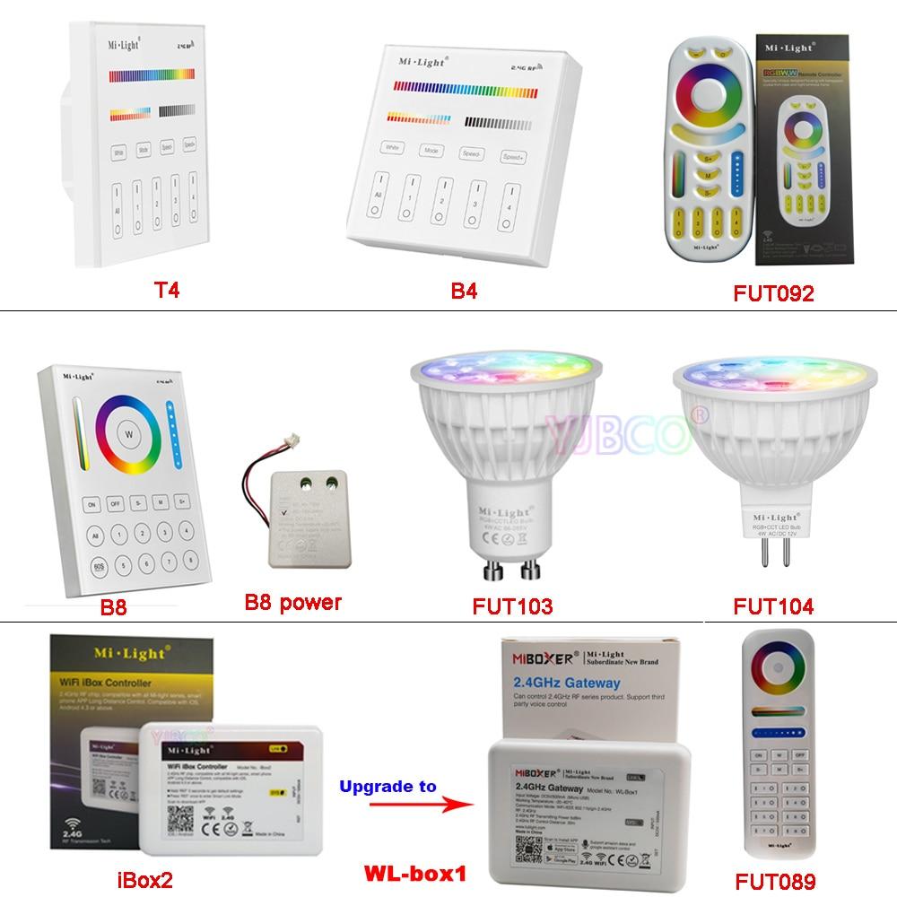 MiBOXERAC110V 220V GU10 MR16 4W RGB+CCT LED Spotlight 2.4G Remote Controller FUT103/FUT104/FUT089/FUT092/B8/B4/T4/WL-Box1