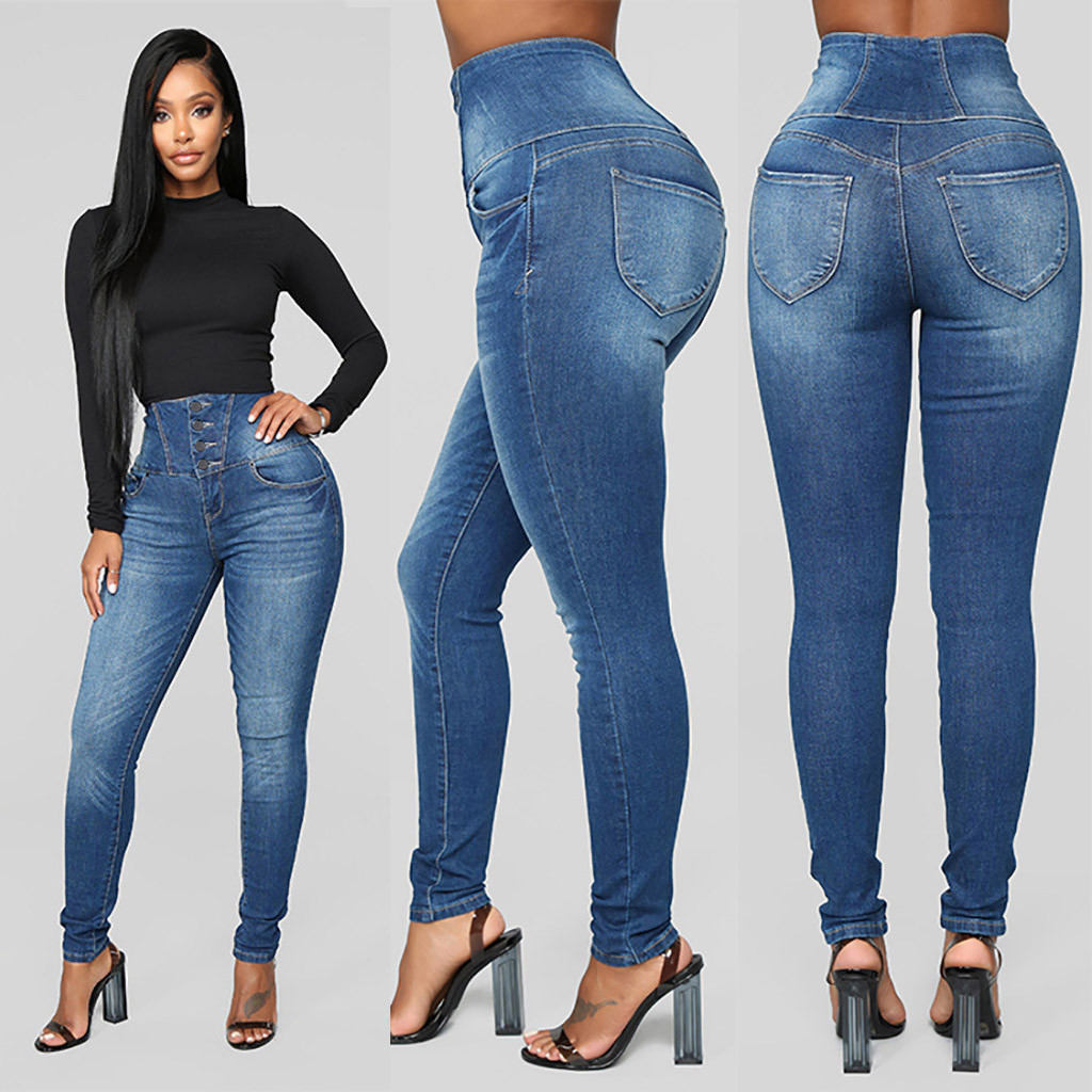 Fashion Women Jeans Women Autumn Elastic Butto Plus Loose Hole Denim Casual Small Feet Cropped Jeans High Waist Jeans Modis