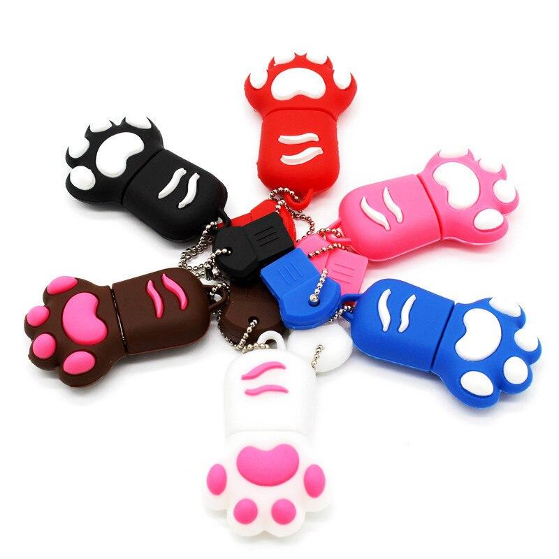BiNFUL  Cartoon 64GB Brown Pink Black Blue Colour Cat Claw Usb Flash Drive Usb 2.0 4GB 8GB 16GB 32GB Pendrive Gift Usb