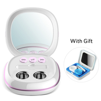 Portable Rechargeable Ultrasonic Contact Lens Cleaner Auto Daily Care Lenses Sonic Washing with travel carry case