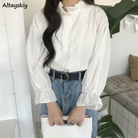 Bluse Frauen Sommer Frühling Weiße Solide Frauen Shirts Stilvolle Heiße Verkauf Alle-spiel Koreanischen Stil Langarm Kawaii Casual tops Neue