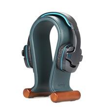 Suporte de fone de ouvido de couro universal gaming headset titular suporte de fone de ouvido pés de borracha, antiderrapante, estável para fone de ouvido