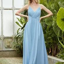 Angel-fashions Spaghetti Strap V Neck Pleated A-line Satin Prom Dresses Sky Blue 512