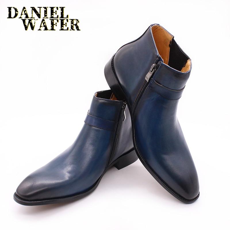 Luxury Italian Genuine Leather Men's Ankle Boots Buckle Strap Zipper Blue Black Formal Dress Shoes Basic Boots Leather Shoes Men