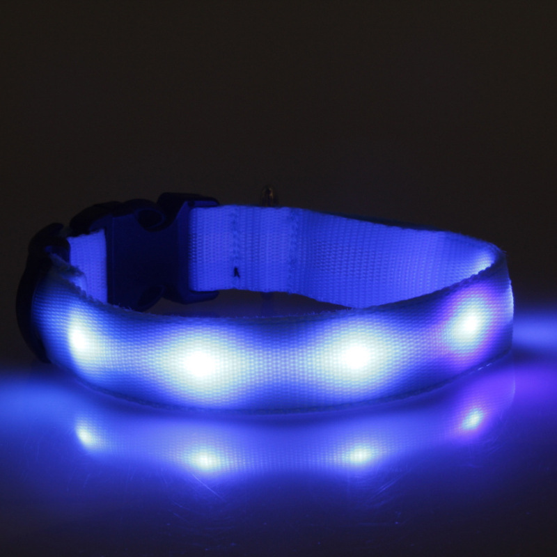 Double-Sided White Light Belt 2.0 Cm Wide Small And Medium LED Luminous Dog Collar Light Belt Neck Ring Lamp Pet Items Neck Ring