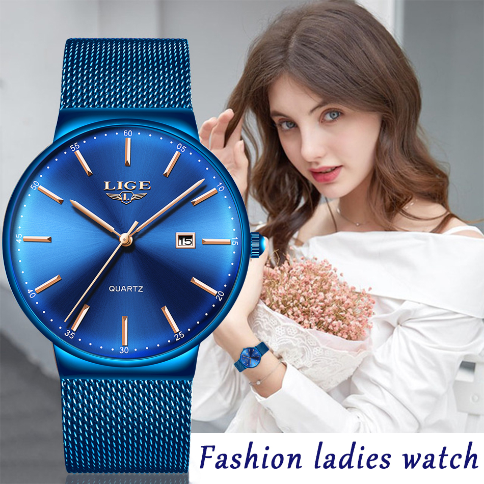 LIGE Womens Watches Top Brand luxury Analog Quartz Watch