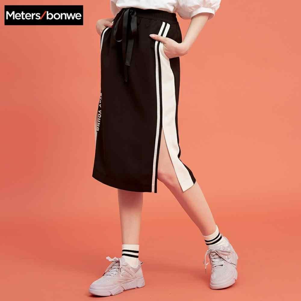 Metersbonwe Sommer Neue sport stil halb rock mode Schöne gestickte Side stripes Split rock Frauen
