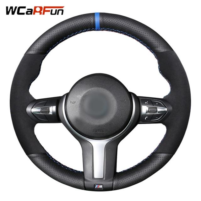 Black Genuine Leather Black Suede Steering Wheel Cover for BMW M4 M5 M6 F87 M2 F80 M3 F82 F12 F13 F85 X5 M F86 X6 M F33 F30