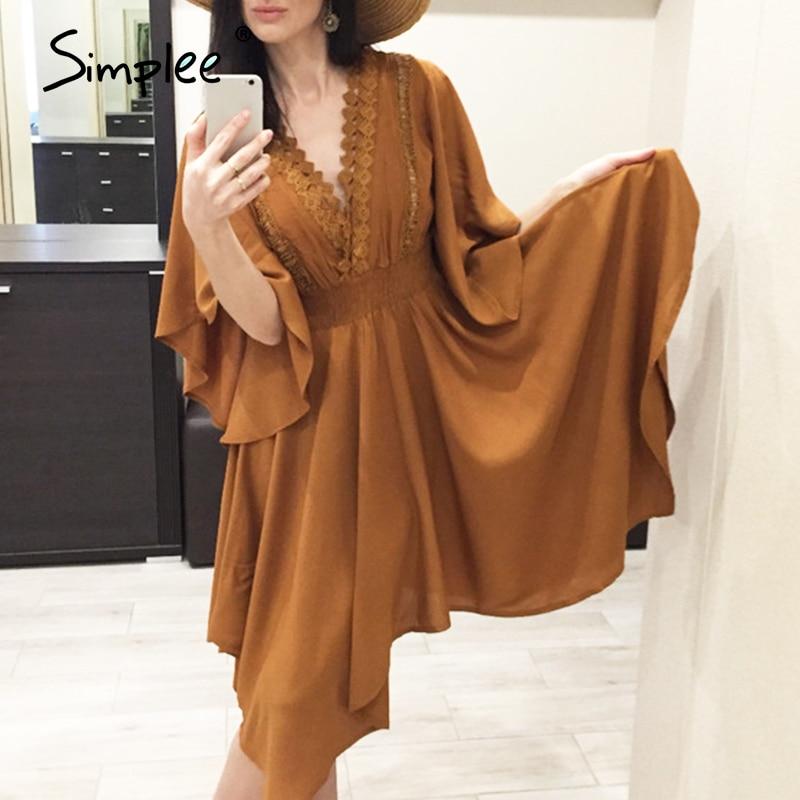 Simplee-vestido midi informal de mujer, vestido informal con escote triangular, encaje y agujeros de talle alto Irregular 2018