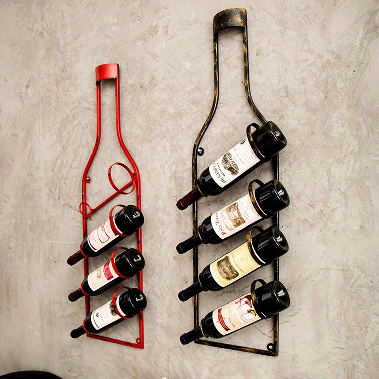 Iron hang ledge wine rack bottles of metal decorative wall frame bar accessories home bars champagne European ideas image