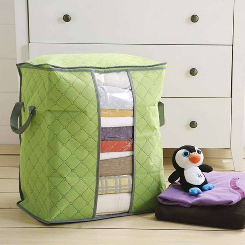 Non-woven Foldable Household Quilt Storage Bag Portable Clothes Damp-proof Storage Bag Organizer For Pillow Blanket Bedding