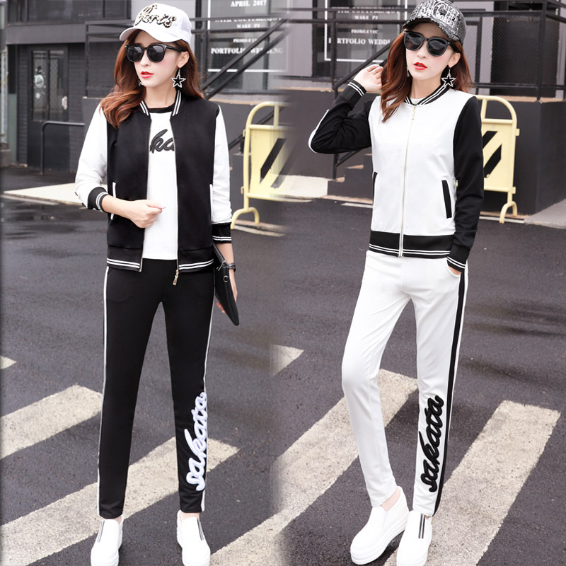 Ozhouzhan Spring And Autumn Casual Hoodie Suit Loose-Fit Slimming Running Sports Clothing Three-piece Set
