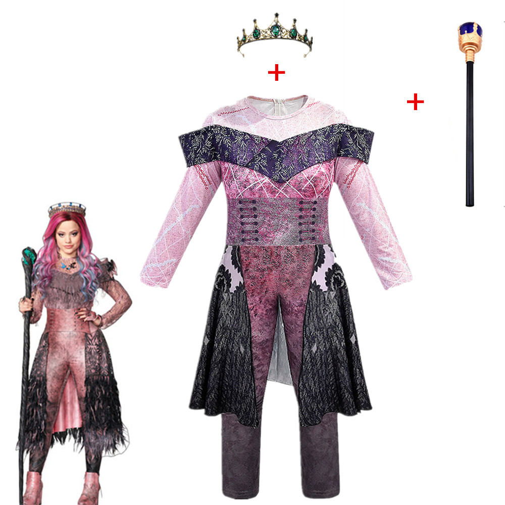 Pink Audrey Costumes Girl Halloween Costumes For Kids Fancy Party Women Costume Evie Descendants 3 Mal Cosplay Fantasia Costumes