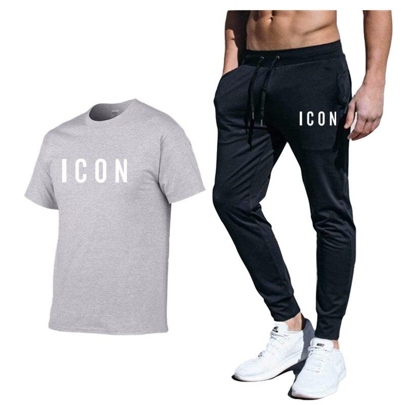2020 Summer Men Summer 2pc Tracksuit Fashion T-shirt Shorts Set +Shorts Sets Beach Mens Casual Tee Shirts Set Sportswears