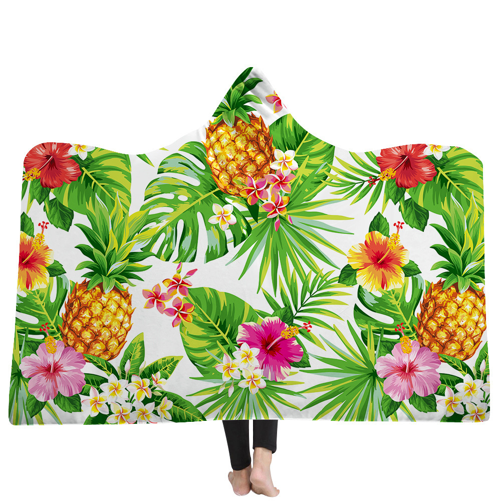 Hooded Blanket Printed Plants For Home Travel Sofa Sherpa Fleece Wearable Blanket Microfiber Warm Throw Blanket For Adults Kids in Blankets from Home Garden