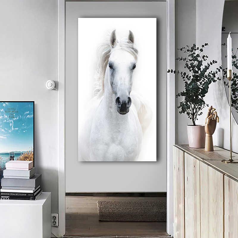 Большой размер, Белая лошадь, Постер и принты, современный холст, живопись, декоративные картины, Куадрос, домашний декор для гостиной, без рамки