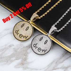 Image 2 - TOPGRILLZ Justin Bieber Drew Smiling Face Necklace Pendant With Tennis Chain Gold Silver Color Cubic Zircon Mens Hip Hop Jewelry
