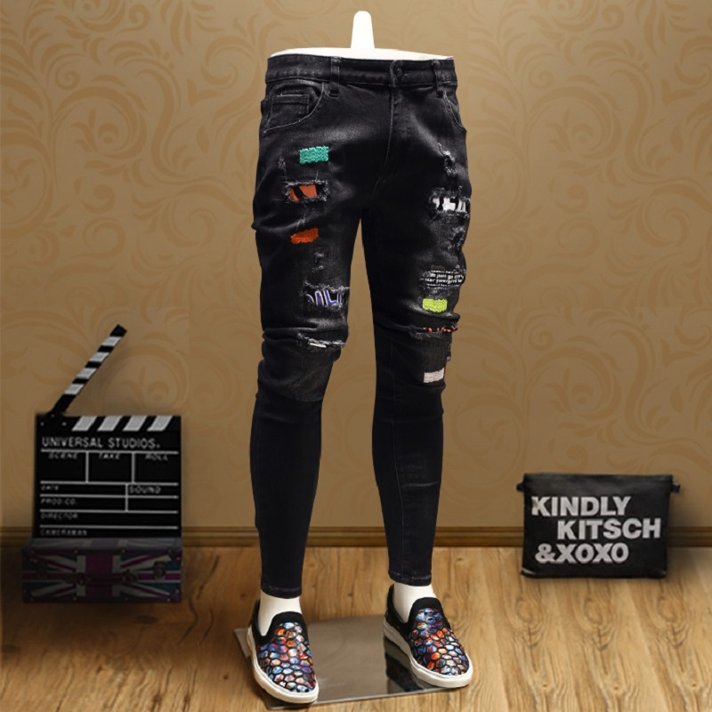 Fashion Patch Ripped Skinny Jeans Men Streetwear Black Straight Jean Pants SMJ06